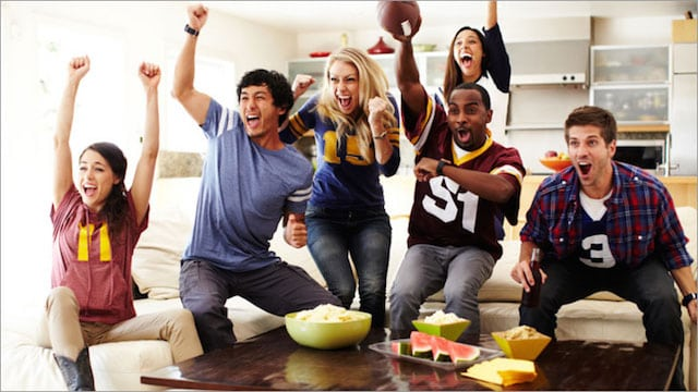 image of football fans at a party
